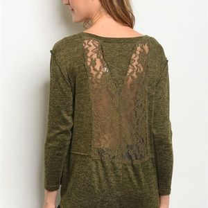 Tops - Olive Green Lace Inset Elbow Length Sleeves